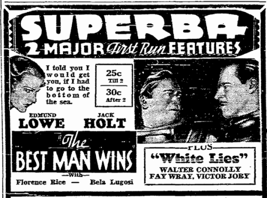 Best Man Wins, San Diego Union, February 3, 1935