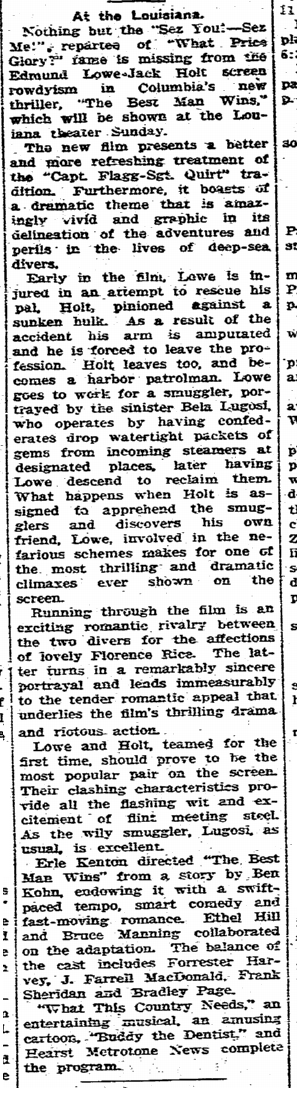 Best Man Wins, State Times Advocate, March 9, 1935