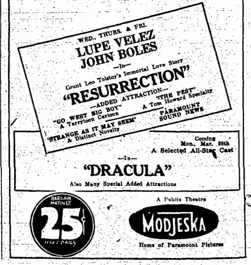 Dracula, Augusta Chronicle, February 22, 1931