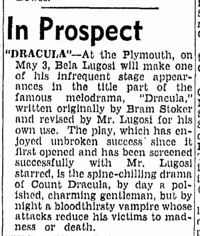 Dracula, Boston Herald, April 25, 1943