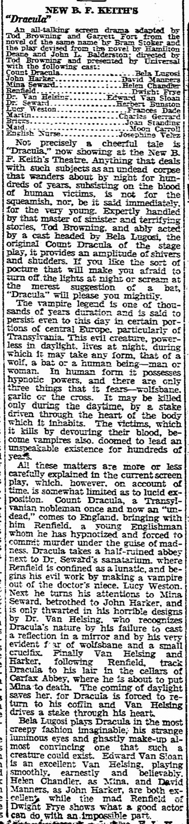 Dracula, Boston Herald, April 4, 1931 2