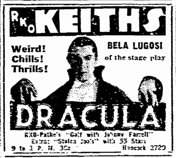 Dracula, Boston Herald, April 7, 1931