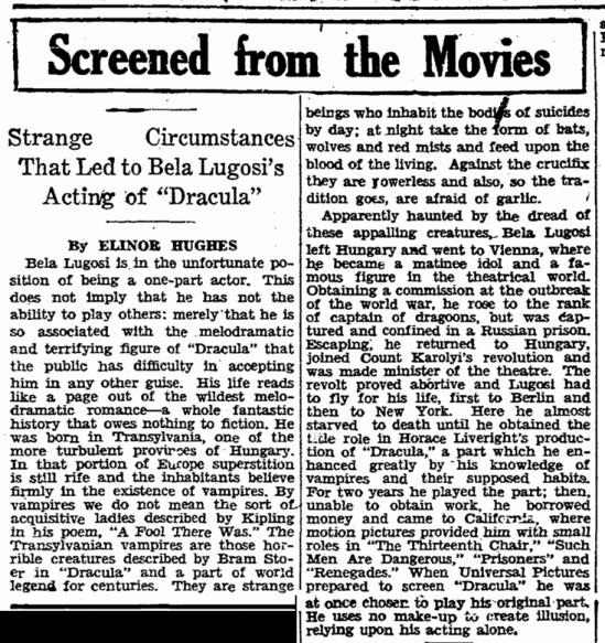 Dracula, Boston Herald, March 6, 1931
