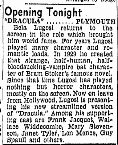 Dracula, Boston Traveler, May 3, 1943 2