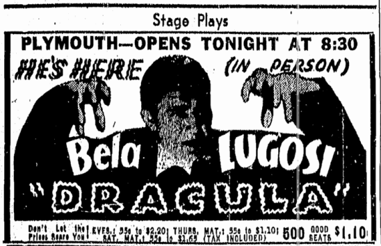 Dracula, Boston Traveler, May 3, 1943