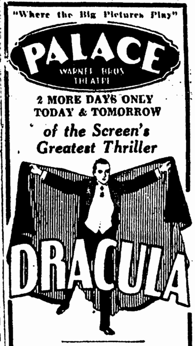 Dracula, Canton Repository, March 3, 1931