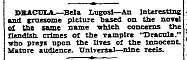 Dracula, Charlotte Observer, March 10, 1931