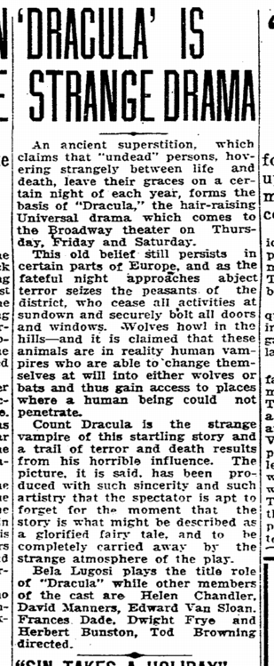 Dracula, Charlotte Observer, March 8, 1931