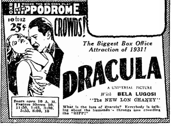 Dracula, Cleveland Plain Dealer, March 12, 1931