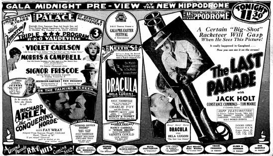 Dracula, Cleveland Plain Dealer, March 20, 1931