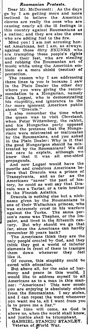 Dracula, Cleveland Plain Dealer, March 22, 1931