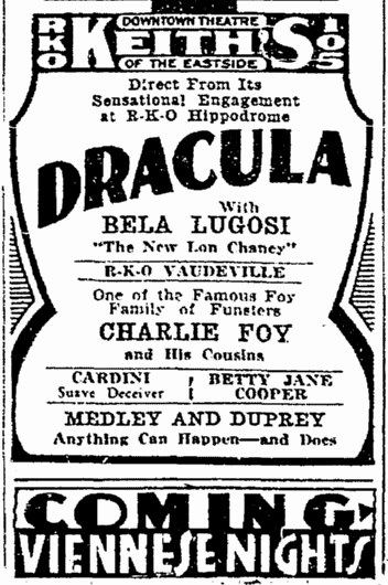 Dracula, Cleveland Plain Dealer, March 23, 1931
