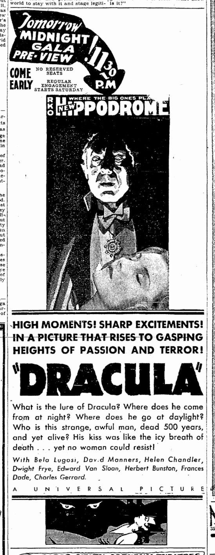 Dracula, Cleveland Plain Dealer, March 5, 1931 2
