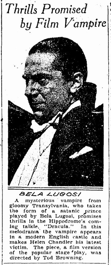 Dracula, Cleveland Plain Dealer, March 5, 1931