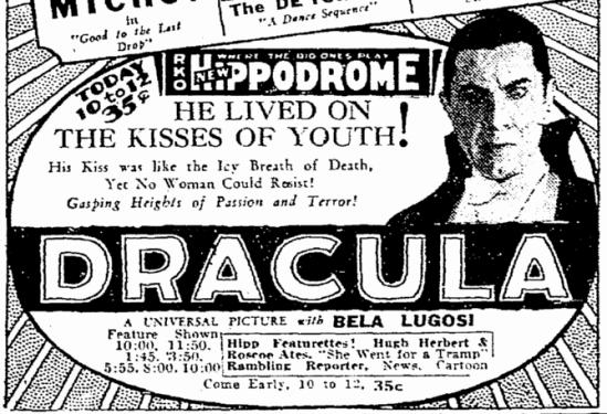 Dracula, Cleveland Plain Dealer, March 7, 1931