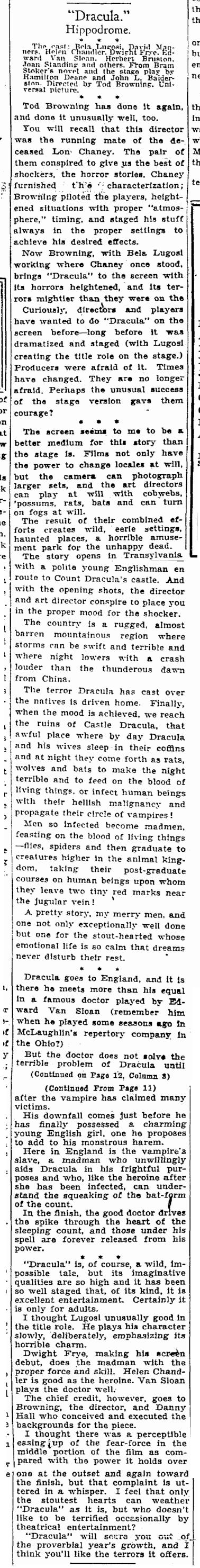 Dracula, Cleveland Plain Dealer, March 8, 1931