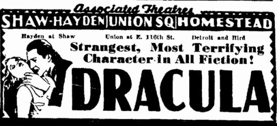 Dracula, Cleveland Plain Dealer, May 3, 1931