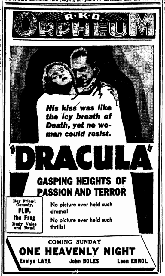 Dracula, Daily Illinois State Journal, March 12, 1931