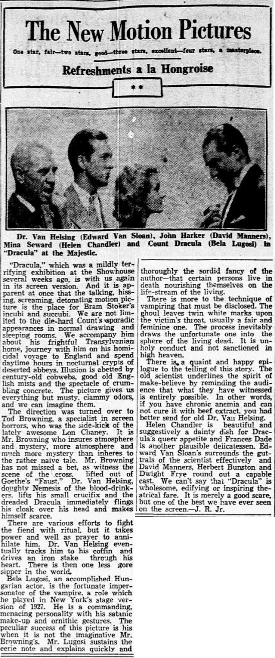 DRacula, Dallas Morning News, March 14, 1931
