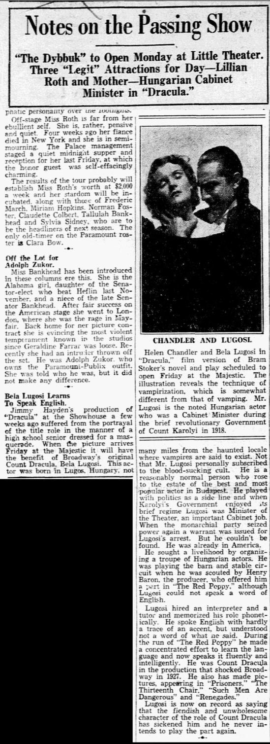 DRacula, Dallas Morning News, March 9, 1931