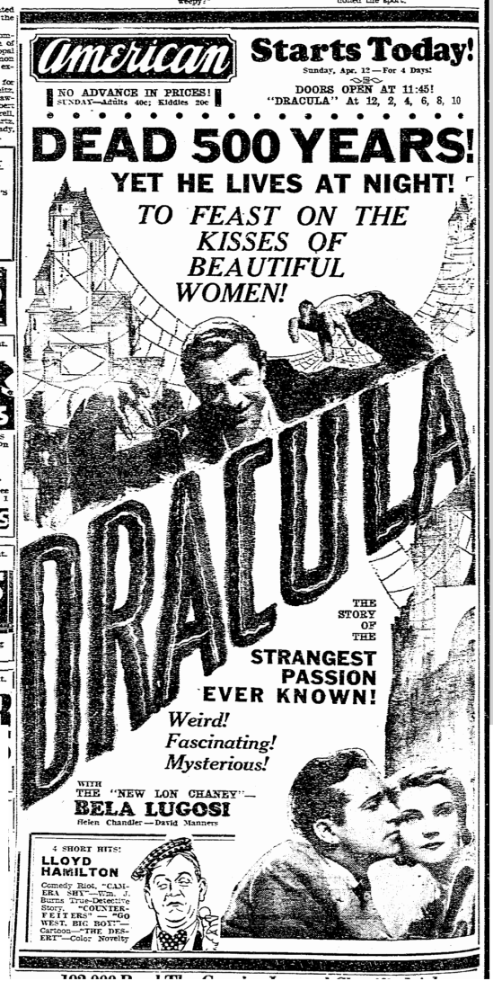 Dracula, Evansville Courier and Press, April 12, 1931