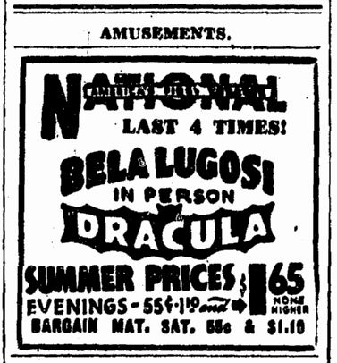 Dracula, Evening Star Washington, June 24, 1943
