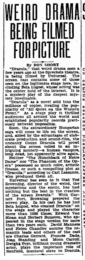 Dracula, Evening Tribune, December 5, 1930