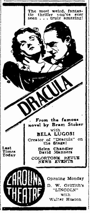 Dracula, Greensboro Daily News, April 18, 1931