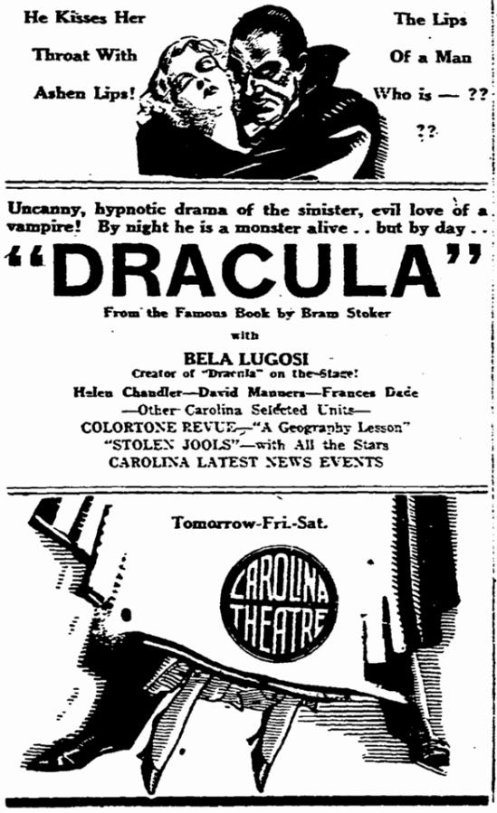Dracula, Greensboro Record, April 15, 1931