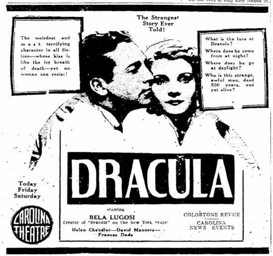 Dracula, Greensboro Record, April 16, 1931