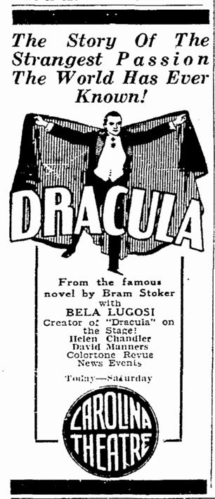 Dracula, Greensboro Record, April 17, 1931