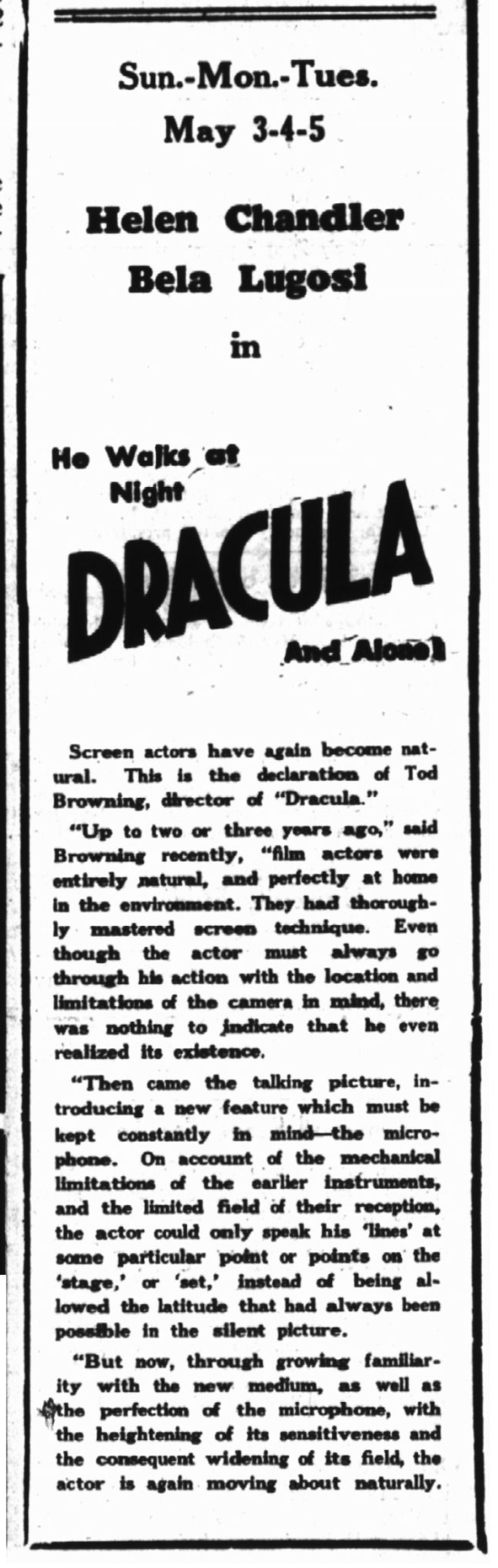 DRacula, Hyde Park Herald, May 1, 1931