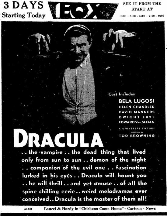 Dracula, Idaho Statesman, April 26, 1931 3