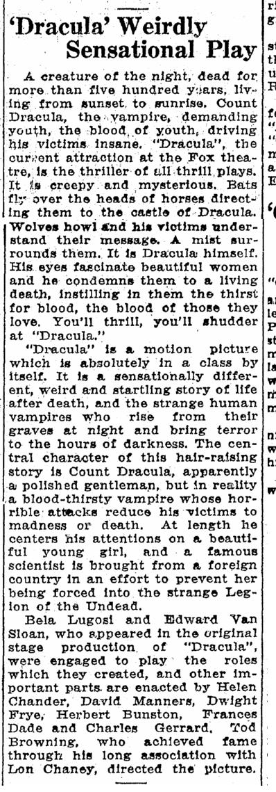 Dracula, Idaho Statesman, April 26, 1931