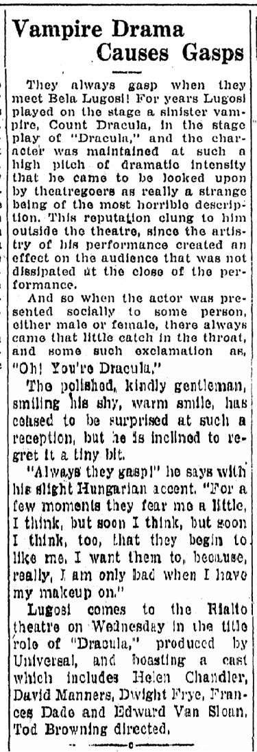 Dracula, Idaho Statesman, August 23, 1931