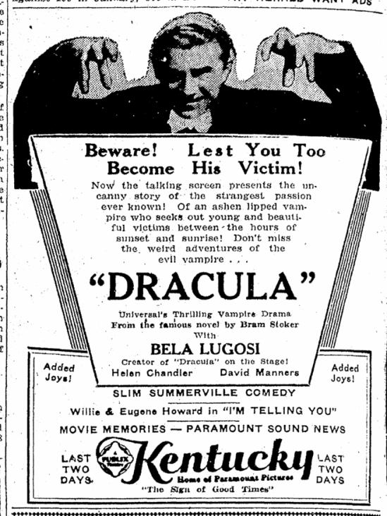 Dracula, Lexington Herald, March 23, 1931