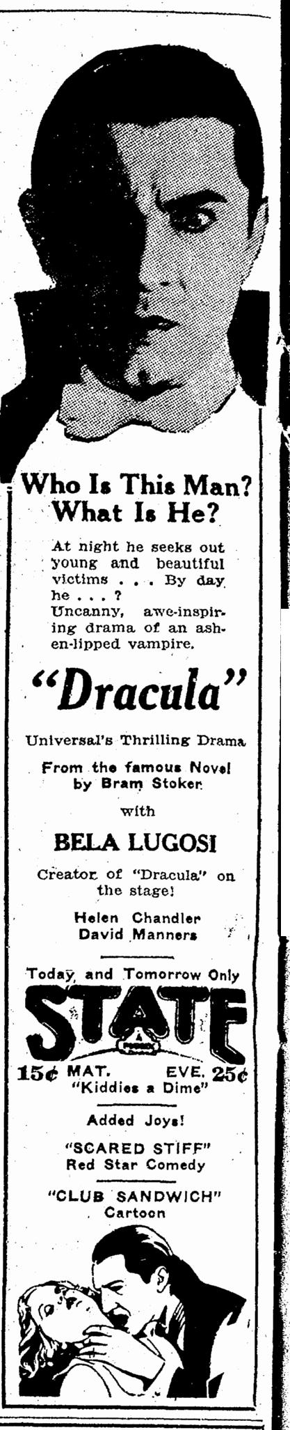 Dracula, Lexington Herald, May 20, 1931