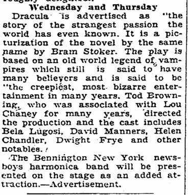 Dracula, Macon Telegraph, February 22, 1931