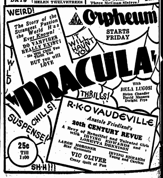 Dracula, Omaha World Herald, February 25, 1931