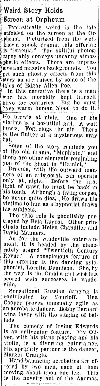 Dracula, Omaha World Herald, February 28, 1931