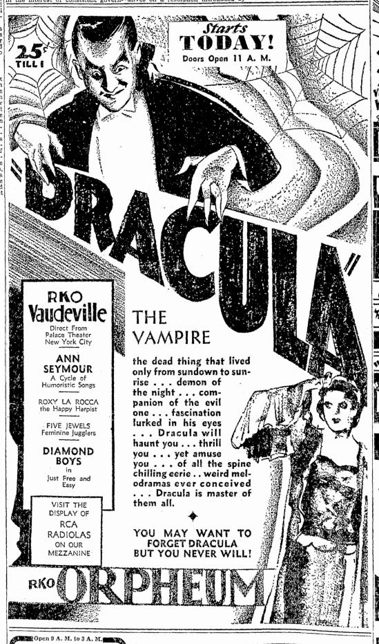 Dracula, Oregonian, February 26, 1931