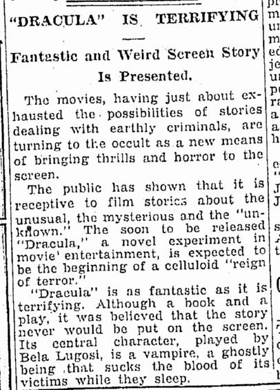 Dracula, Oregonian, January 18, 1931