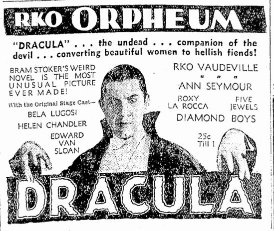 Dracula, Oregonian, March 2, 1931