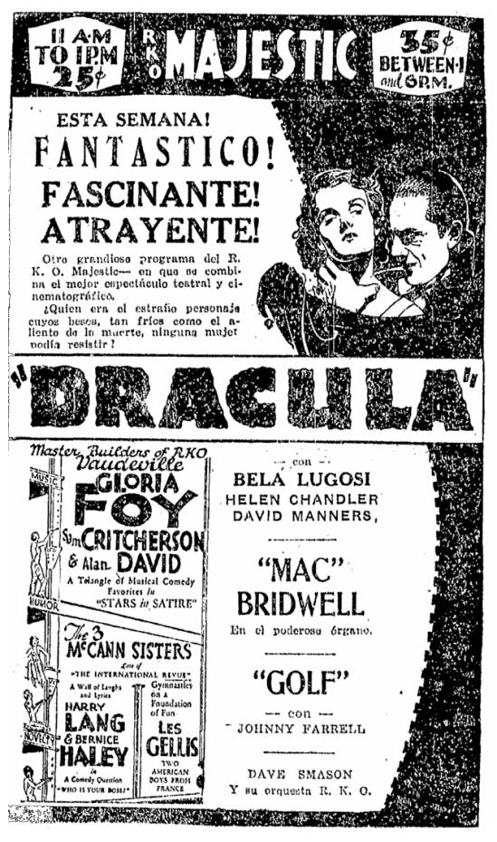 Dracula, Pensa, April 10, 1931