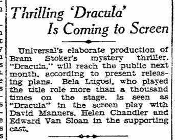 Dracula, San Diego Union, January 25, 1931