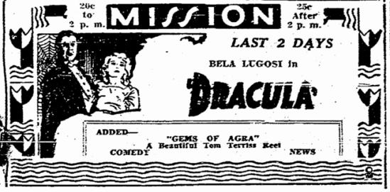 Dracula, San Diego Union, June 15, 1931