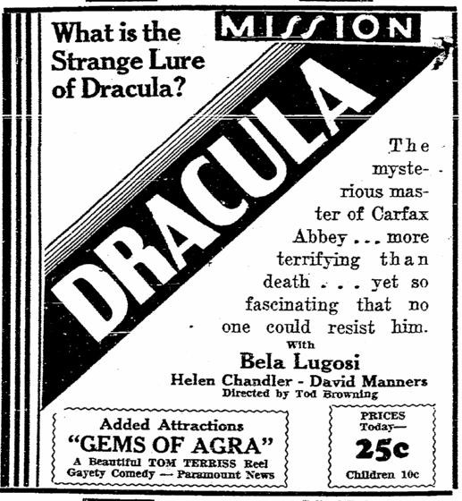 Dracula, San Diego Union, June 6, June 14, 1931