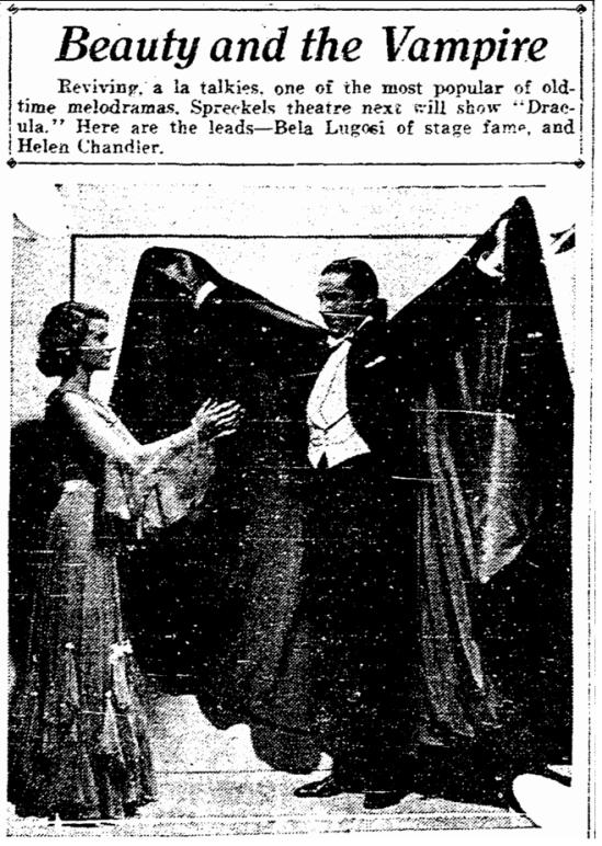 Dracula, San Diego Union, March 31, 1931 2