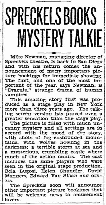 Dracula, San Diego Union, March 31, 1931