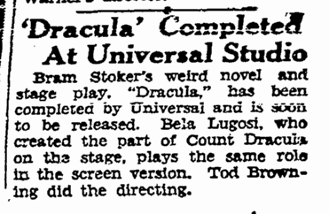 Dracula, San Francisco Chronicle, December 21, 1930